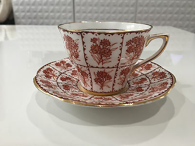 Vintage Rosina Bone China English Cup & Saucer w/ Red Flowers Decoration