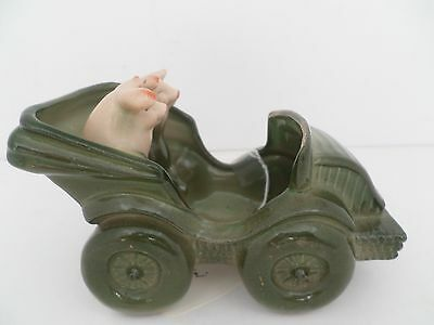 Antique 1900's German porcelain Pigs in car cany dish or plant holder