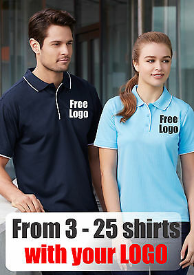 From 3 - 25 shirts Men Elite Polo with Your Embroidered LOGO (Biz P3200)