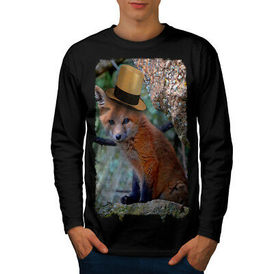Wellcoda Fox Hat Cool Animal Mens Long Sleeve T-shirt, Flame Graphic Design