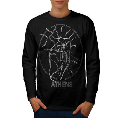 Wellcoda Athens City Map Fashion Mens Long Sleeve T-shirt, Big Graphic Design