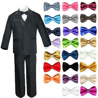 6pc Baby Toddler Boys Black Formal Wedding Party Suits Tuxedo Extra Bow Tie S-7