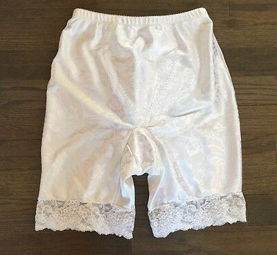 Vtg 70s Vanity Fair Satin White Floral Laced Long Leg Girdle Panty Shape Wear M