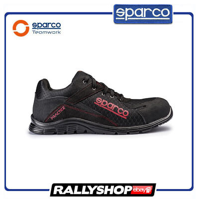 SPARCO PRACTICE shoes Racing Boots Race Sport Rally Mechanics S1P Black Red