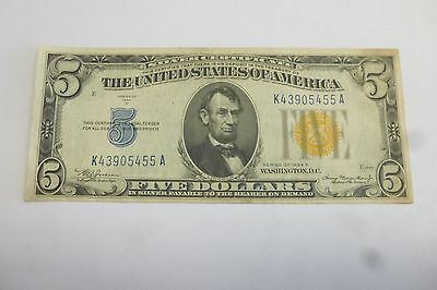 Silver Certifiate South Africa Uncirculated U.s. 5.00 Note 1934 Yellow Seal #1