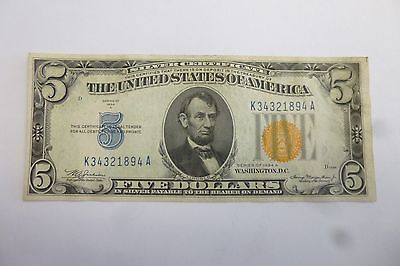 Silver Certifiate South Africa Uncirculated U.s. 5.00 Note 1934 Yellow Seal #2