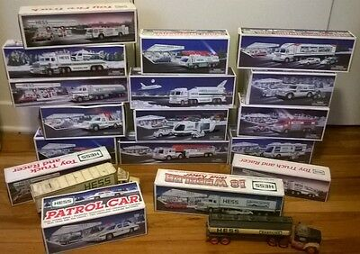 Large Lot of 19 Hess Trucks 1987-2001, 2004-2005!  In Box Vintage