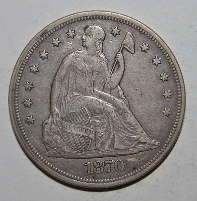 1870-CC Seated Liberty Silver Dollar Low Mintage