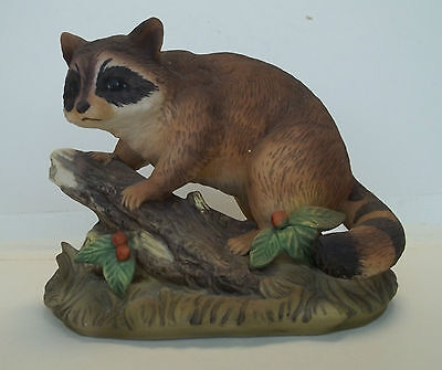 Masterpiece By Homco Large  Racoon On Tree Figurine Porcelain Home Interior