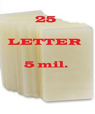 25 Letter Size Laminating Pouches/Sheets ,  5 Mil