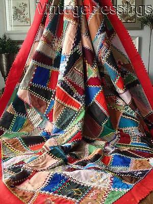 """FANCY EMBROIDERED Crazy Beautiful! Antique c1892 Victorian QUILT 81x79"""""""
