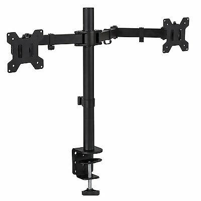 Mount-It! Dual Monitor Desk Stand Mount for LCD LED Computer Displays Two Arms