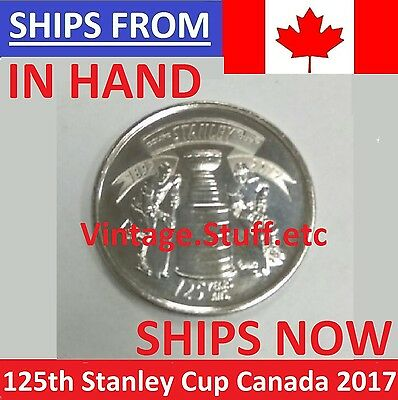 IN HAND 2017 Canada 25 Cents 125th Anniversary Stanley Cup Quarter UNC From ROLL