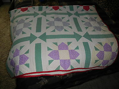 Antique VTG Hand Pieced Quilted Feedsack Material Quilt 1930-40s Cotton Batting
