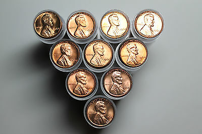 Lot of 10 1964 BU Lincoln cent rolls
