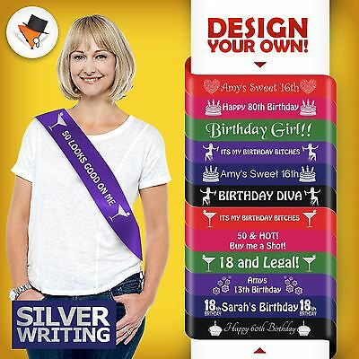 Personalised Birthday Party Sash For 40Th 50Th 60Th 70Th Silver Writing Quality