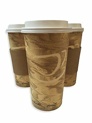 12oz Hot Paper Cups with Lids and Sleeves 100 Pack