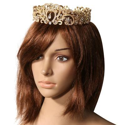 Wedding Baroque Queen Princess Crystal Hair Tiara Crown Heart Headband Gold