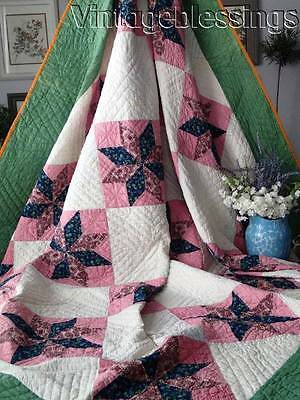 """19th Century ANTIQUE Stars QUILT 89x84"""" Double Pink Green Blue Cheddar"""