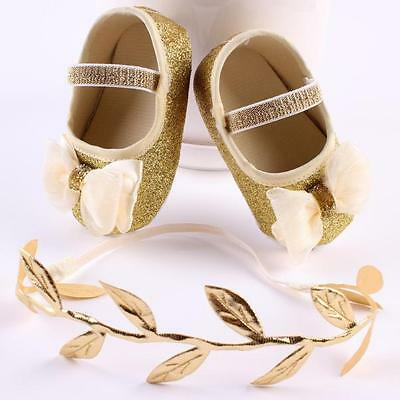 Baby Infant Kids Girl Bow Soft Crib Sole Toddler Newborn Shoes with Hairband