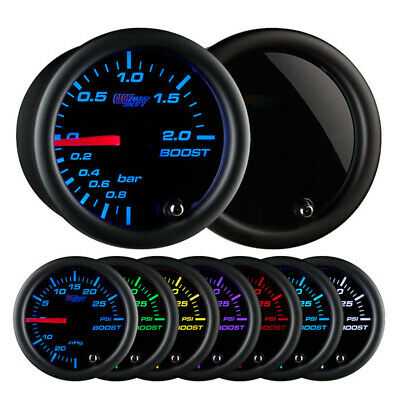 GlowShift Tinted 7 Color 2 BAR LED Boost / Vacuum 52mm Gauge GS-T701-BAR