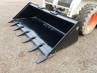 "Brand New 72"" Tooth Bucket Powder Coated For Skid Steer Loader - Free Shipping"