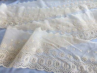 "1 yard by 5""wide French Antique/ Vintage Embroidered Floral Cotton Net Lace Trim"