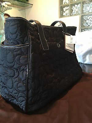 NWT Rare Coach Black Quilted Signature Baby Diaper Tote Bag - 5163