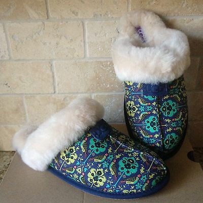Ugg Scuffette Liberty Navy Blue Floral Sheepskin Slip-On Slippers Us 8 Womens