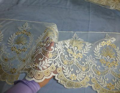 "1 yard x 13""wide French Vintage Embroidered Floral  Net Lace Trim"
