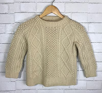 Kids Cladyknit Donegal Hand Knit 100% Pure Wool Cable Knit Sweater Ireland