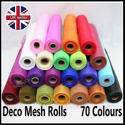 Deco Mesh Rolls 50cm x 9m Roll - 55 colours available - UK seller - Polynet