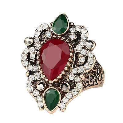 Turkey India Hurrem Sultana Style Women's Rhinestone Crystal Agate Fashion Ring!