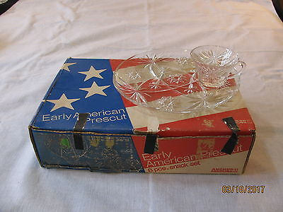 Vtg Anchor Hocking Early American Prescut/EAPC 8 Piece Snack Set,Original Box
