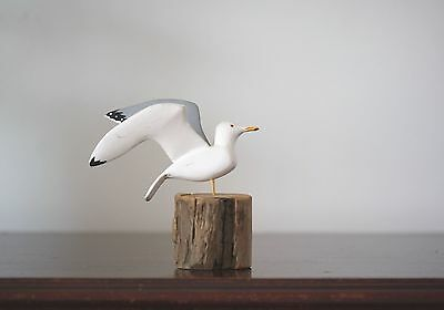 Vintage 1950's Hand Carved Wood Flying Seagull Shore Bird Sculpture Signed