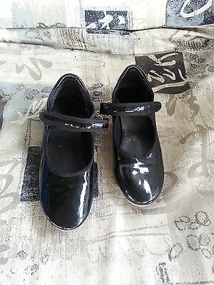 Child Tap Shoes Maryjane Style Patent Black Velcro Strap Size 2