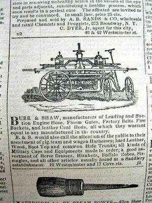 1845 PROVIDENCE Rhode Island newspaper w illustrated FIRE ENGINE AD Firefighting