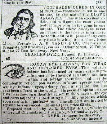 1845 PROVIDENCE Rhode Island newspaper w illustrated AD Teeth TOOTH ACHE DROPS
