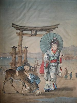 Antique Japanese Original Painting On Silk Woman And Child