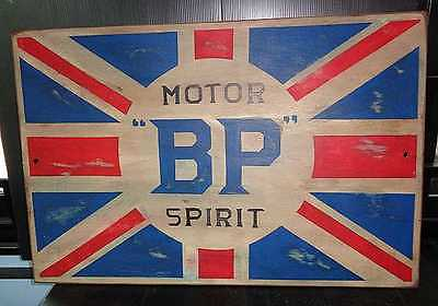 Vintage Style Hand Painted Bp Motor Spirit Wooden Gasoline Sign