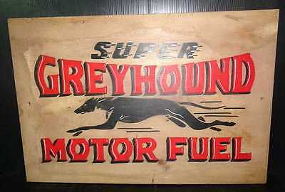 Vintage Style Hand Painted Greyhound Wooden Gasoline Sign.