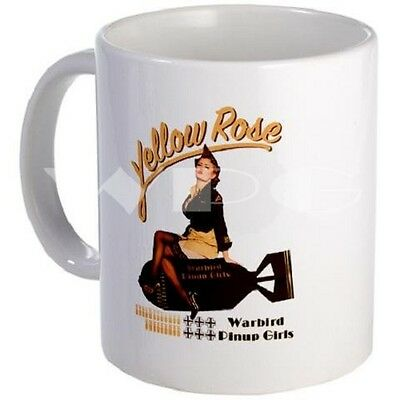 Yellow Rose Mug - Warbird Pinup Girls - Dishwasher and Microwave Safe