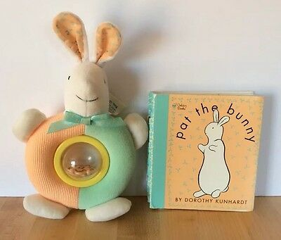 """LOT BooK PAT BUNNY BABY RATTLE 9"""" Plush STUFFED ANIMAL Toy Kids Gifts Toy soft"""