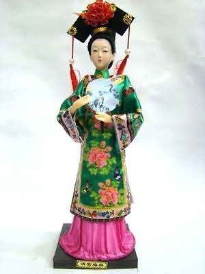 Oriental Broider Doll,Chinese Old style China doll figurine with fan