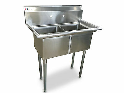 """EQ Compartment Sink Kitchen Commercial Stainless Steel Silver 35""""X20.5""""X43.75"""""""