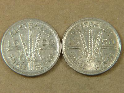 1950 Australia 3 Pence Silver Coin Lot of 2