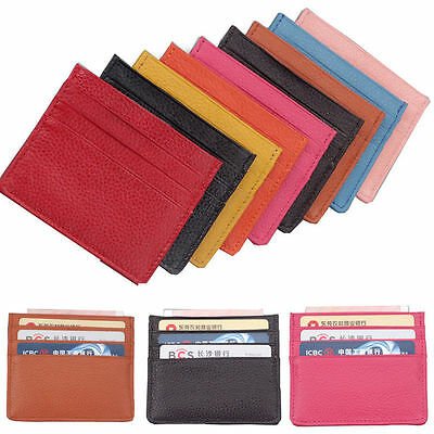 2019 Mens Womens Leather Small ID Credit Card Wallet Holder Slim Pocket Case NEW