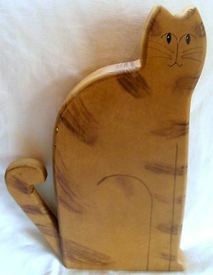 "Handcrafted Wooden Brown Tabby Cat 13.5"" Tall - Painted Wood & Dark Brown Spots"