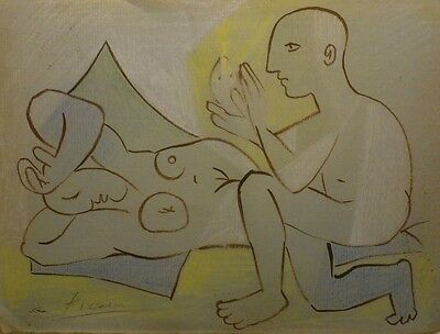 Pablo Picasso Sleeping Girl Original Antique Drawing Signed