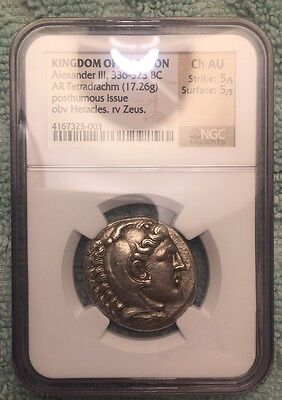 Alexander The Great, NGC Choice AU, Silver Tetradrachm, Uranopolis Mint
